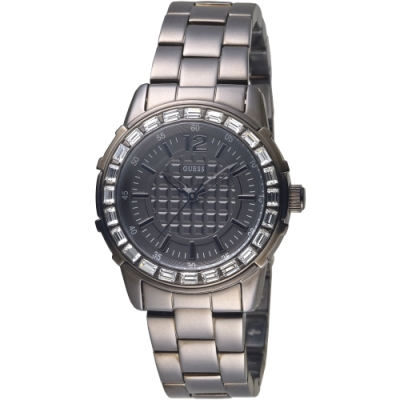 GUESS 浮誇閃耀晶鑽黑色手錶-全IP黑-GWW0119P2-36mm