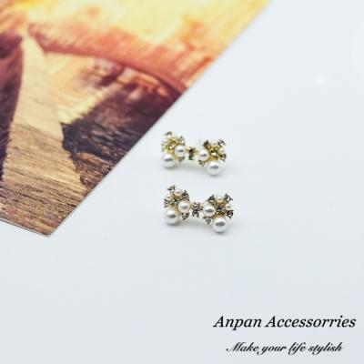 【ANPAN愛扮】韓國東大門NYU氣質珍珠蝴蝶結925銀針耳釘耳環