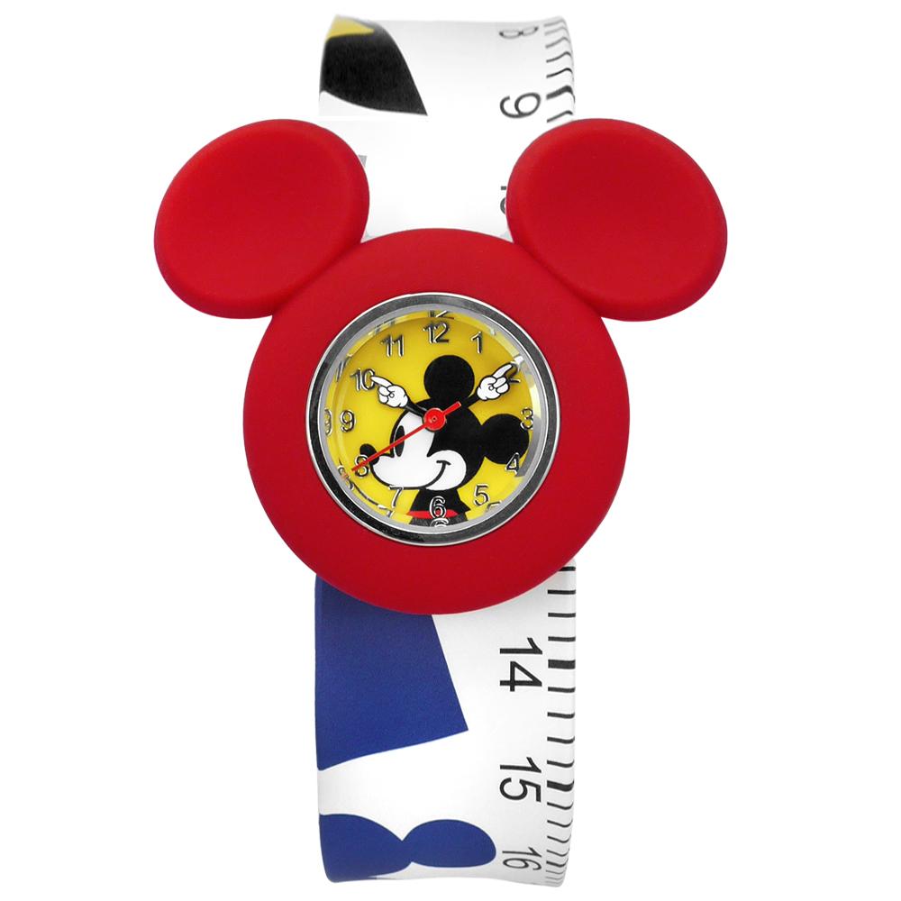 Disney 迪士尼★贈錶帶米奇米妮兒童卡通拍拍矽膠手錶-黃紅x白/32mm