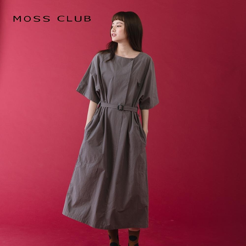 【MOSS CLUB】素面寬鬆剪裁繫帶-連身裙(二色)
