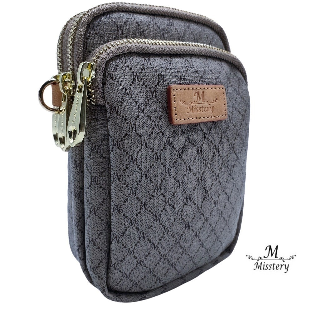 【Misstery】手機包植鞣皮革經典膠料斜背包/側背包/直立手機包