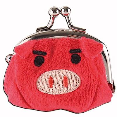 可愛豬造型小珠扣包 紅色 UNIQUE