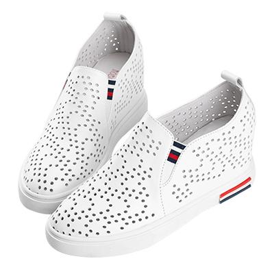 Robinlo & Co.美式隨性牛皮內增高休閒鞋 白色