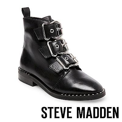 STEVE MADDEN-RECHARGE Punk風潮真皮大扣飾帶中靴-黑色