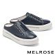 拖鞋 MELROSE 簡約率性搶眼鑽條全真皮厚底休閒拖鞋-藍 product thumbnail 1