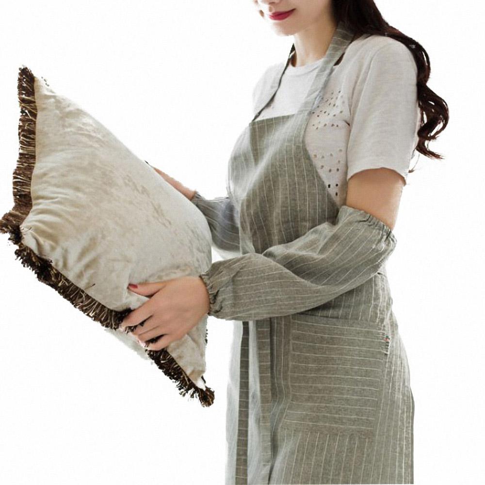 掛脖條紋袖套圍裙組(NT-UM05)