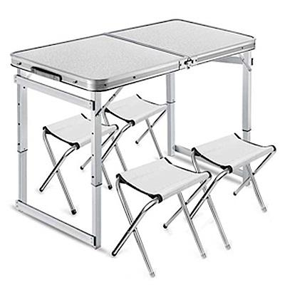 挪威森林 加高加粗加厚鋁合金升降摺疊桌/露營桌/拜拜桌-1桌4椅大全配