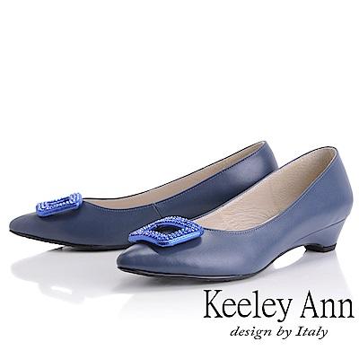 Keeley Ann 方飾水鑽素色低跟鞋(藍色)