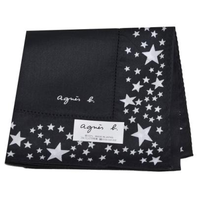 agnes b 品牌字母LOGO繽紛星星圖騰帕領巾(黑系)