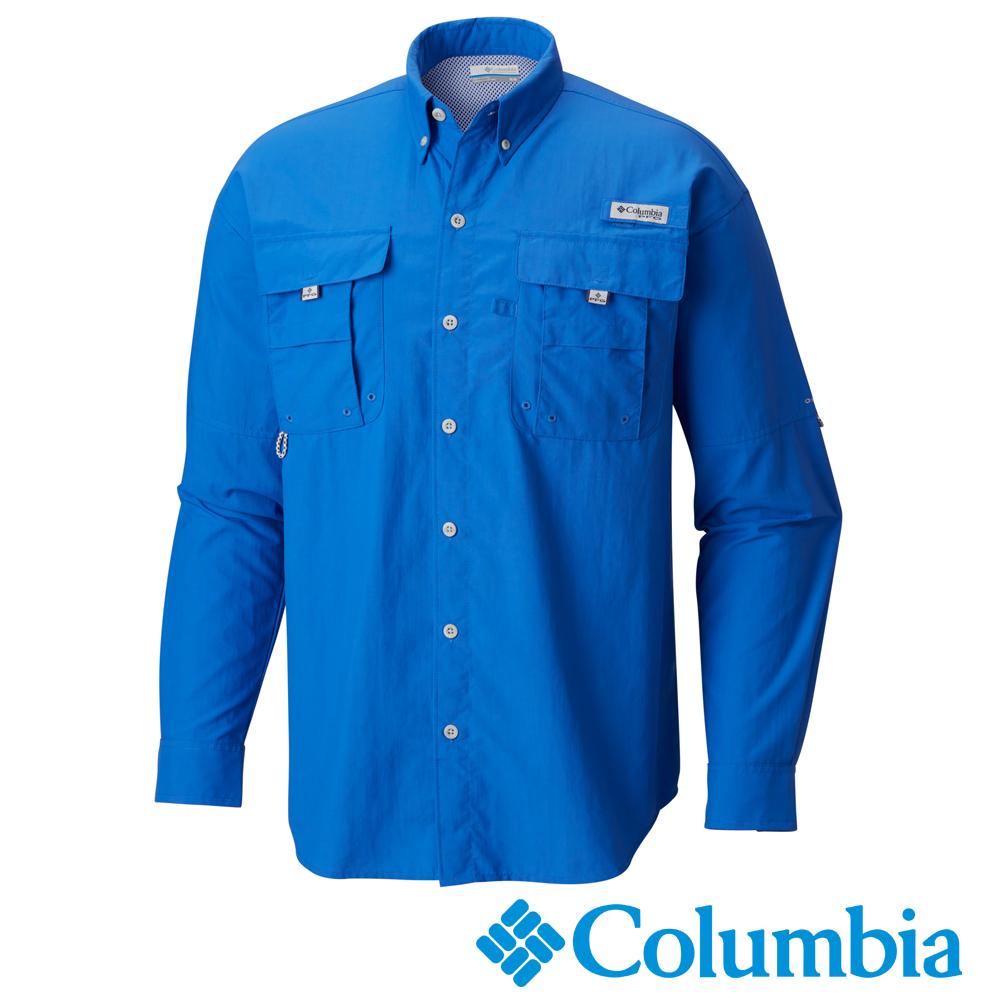 Columbia哥倫比亞 男款-防曬30快乾長袖襯衫-藍色 UFM70480BL