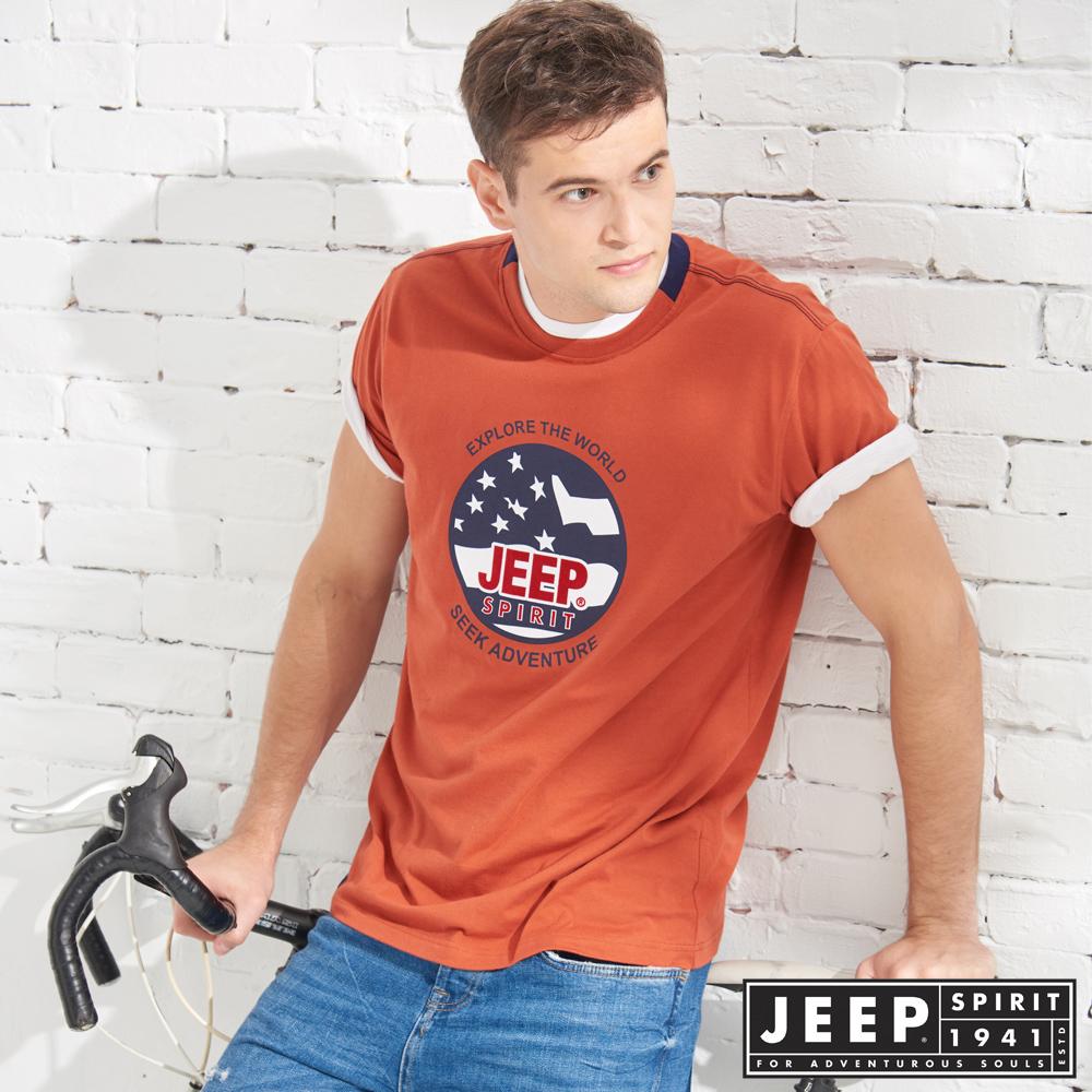 JEEP 美式立體徽章純棉短袖TEE-紅木色