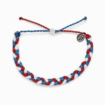 Pura Vida 美國手工 RED WHITE AND BLUE 紅白和藍粗線編織可調式衝浪手環