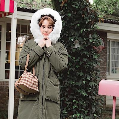 韓系豐厚毛領杜邦科技棉升溫保暖大口袋長版外套-OB大尺碼