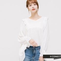 H:CONNECT 韓國品牌 女裝 - 輕甜荷葉造型上衣 - 白