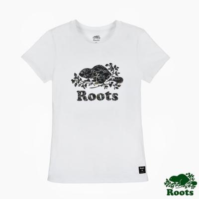 女裝Roots 夏日極光變色海狸短袖T恤-白色