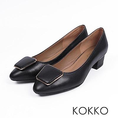 KOKKO - 通勤時尚方扣羊皮跟鞋-黑