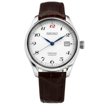SEIKO 精工 PRESAGE 藍寶石水晶玻璃 真皮機械錶-銀白x深咖啡/40mm