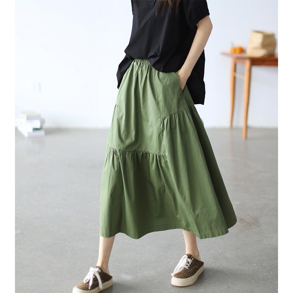 鬆緊腰高腰褶襇拼接顯瘦A字裙三色可選-設計所在