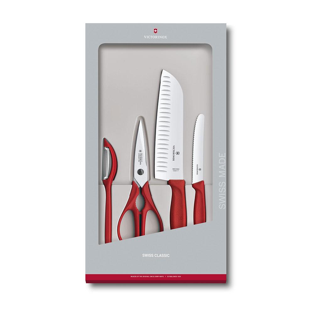 VICTORINOX瑞士維氏 經典廚具四件組 禮盒套裝-紅 6.7131.4G