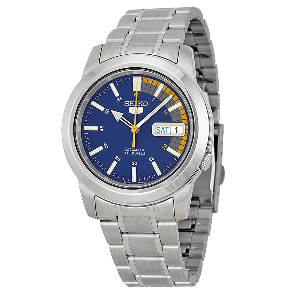 SEIKO 經典5號自動上鍊機械腕錶(SNKK27J1)-藍面+黃x38.5mm