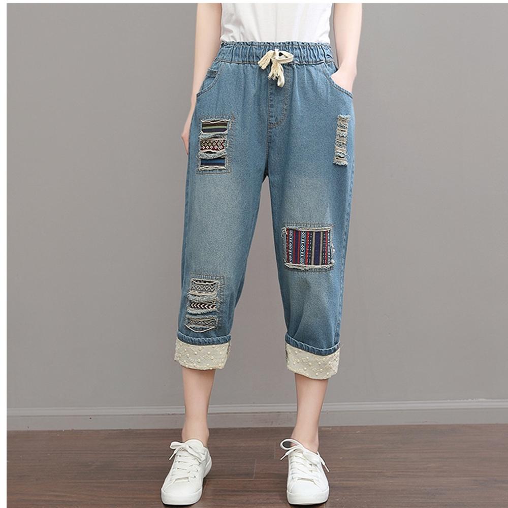 休閒好搭抽繩鬆緊腰反摺牛仔褲L-XL(共二色)-Keer @ Y!購物
