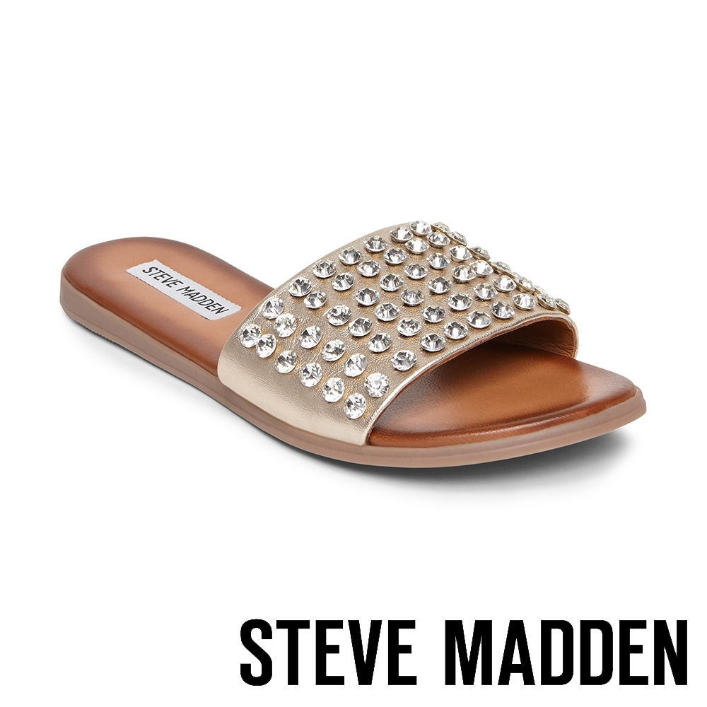STEVE MADDEN-FIREWORK 歐美精緻水鑽一字拖鞋-銅色
