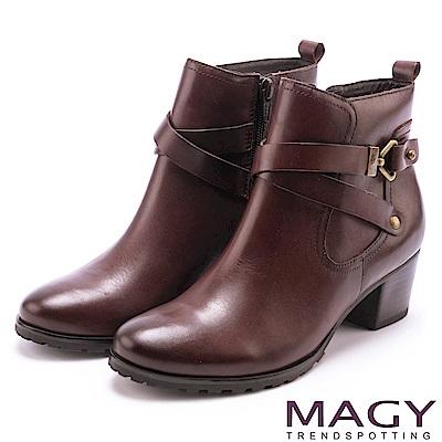 MAGY 街頭率性 交叉皮帶牛皮工程踝靴-咖啡
