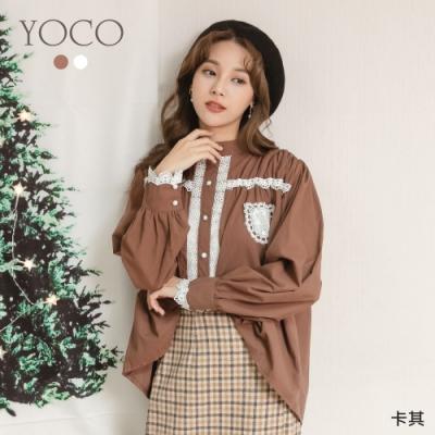 東京著衣-YOCO 可愛女孩鏤空蕾絲排釦娃娃裝上衣