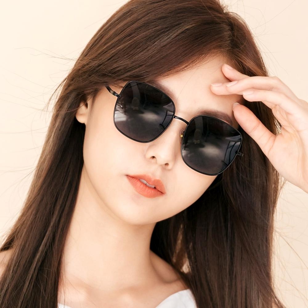 ALEGANT韓系超人氣夜幕黑微方黑細框偏光墨鏡│UV400太陽眼鏡│威尼斯的河岸詠嘆