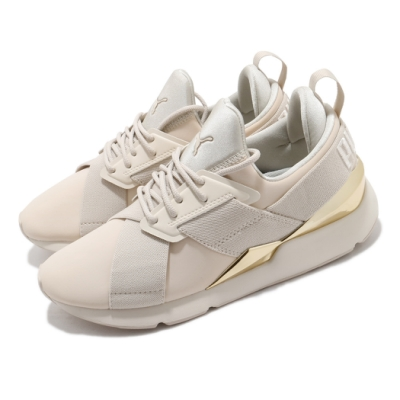 Puma 休閒鞋 Muse Metal 襪套式 女鞋 輕量 耐磨 緩震 球鞋穿搭 百搭 淺褐 金 36704705