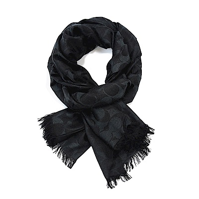 COACH 滿版LOGO羊毛混絲素色披肩圍巾 黑灰