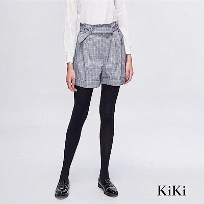 【KiKi】英倫風繫帶格紋-短褲(二色)