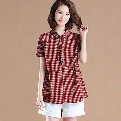 初色  休閒格子短袖襯衫-紅格-(M-2XL可選)