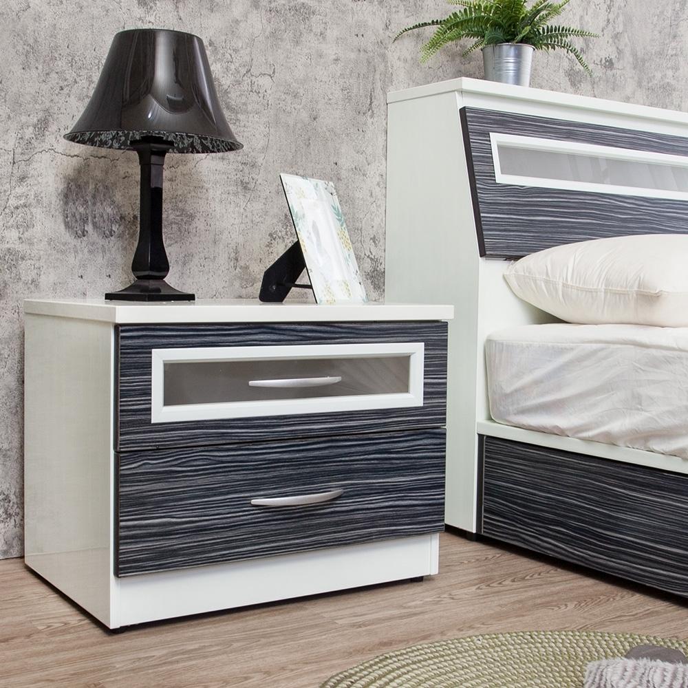 Birdie南亞塑鋼-2尺二抽塑鋼床頭櫃/抽屜收納櫃/置物櫃(鐵刀木色)-60x43x49