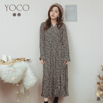 東京著衣-YOCO Oni私藏V領碎花側綁帶長洋裝(共二色)
