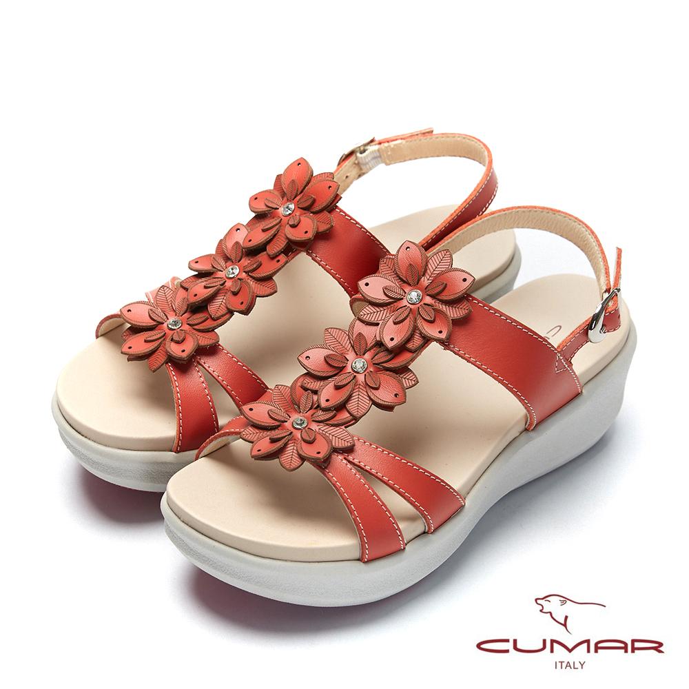 【CUMAR】普羅旺斯莊園-雷射花朵小鑽飾厚底涼鞋-橘紅