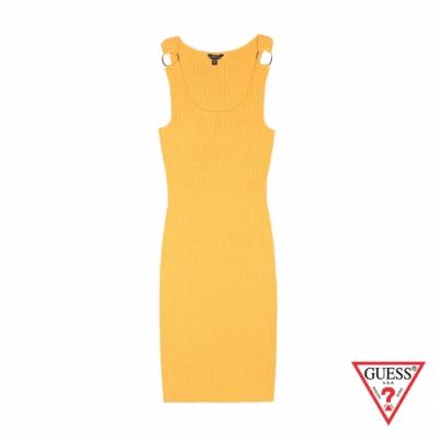 GUESS-女裝-修身無袖連身裙-黃