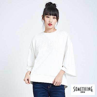 SOMETHING 青春高校 LOGO繡花後綁結寬版T恤-女-白色