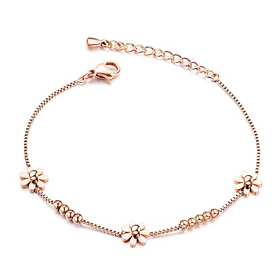 I.Dear飾品-西德鋼-花中緣-可愛花朵串珠造型玫瑰金鈦鋼手鍊AG61