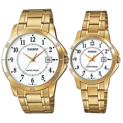 CASIO 城市之戀金時尚日期指針對錶-白面(MTP-V004G-7B+LTP-V004G-7B)
