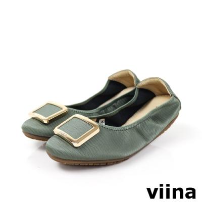viina 方頭蜥蜴紋金邊方釦摺疊娃娃鞋-淺墨