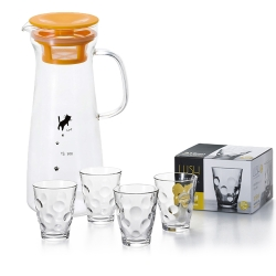 ADERIA 日本進口貓咪耐熱把手冷水壺900ML(黃)贈玻璃酒杯四件組315ML-圓點款