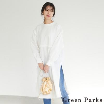 Green Parks 特色捲袖拼接開叉連身裙
