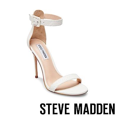 STEVE MADDEN-MARLEY 特殊壓紋一字高跟涼鞋-白色
