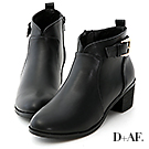 D+AF 自在風格.小V口後釦環中跟短靴*黑