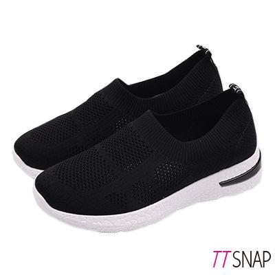 TTSNAP健走鞋-輕量簡約飛梭織面慢跑休閒鞋 黑