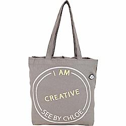 SEE BY CHLOE Live 刺繡字母棉質帆布束口購物包(灰色)