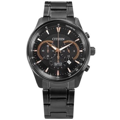 CITIZEN 經典商務 三眼計時 日期 防水100米 不鏽鋼手錶-鍍黑/42mm