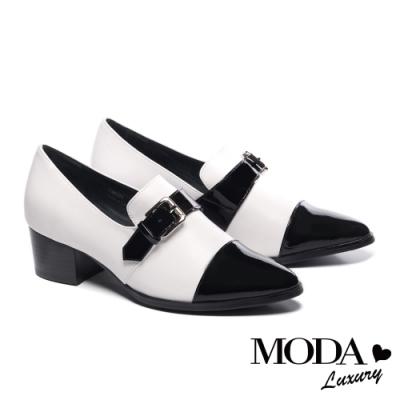 跟鞋 MODA Luxury 都市時髦一字帶釦飾全真皮尖頭粗高跟鞋-白