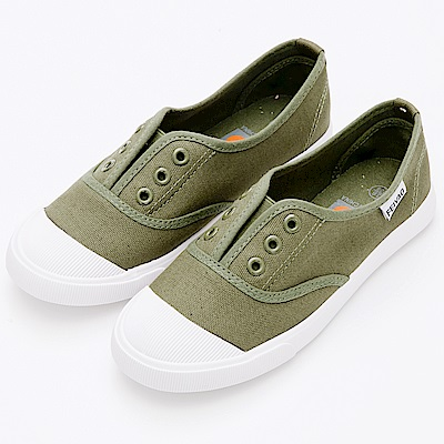River&Moon休閒鞋-簡單生活無綁帶休閒帆布鞋-橄欖綠
